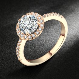 Wholesale Halo Set - Swiss AAA+ CZ Diamond Halo Engagement Rings 18K Rose Gold Platinum Plated Crystal Round Ring Wedding Jewelry For Women DFR319