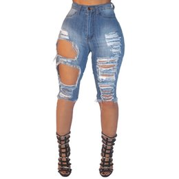 Wholesale Button Hole Elastic - Wholesale Summer Elastic High Waist Women Jeans Denim Knee Lenght Vintage Streetwear Ripped Short Jeans Hole Female Tide Shorts