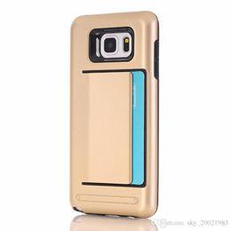 Carte de crédit couvre le plastique en Ligne-Hybride Antichoc Carte de Crédit Slot Cases Couverture Pour Samsung Galaxy Note 5 N9200 Cas de Téléphone En Plastique GEL TPU + PC Retour Dur Shell