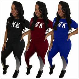 Wholesale ladies short sleeve sweatshirts - 2pcs set PINK Letter Outfits Set Short sleeve T Shirt Tops Contrast Color Tracksuit Lady Jogging Gym Sweatshirts Legging Suit CCA9614 10set