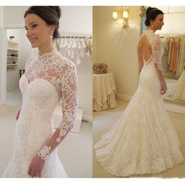 Wholesale Wedding Bridals - 2017 Lace Mermaid Wedding Dress Long Illusion Sleeves Backless Sweep-Train Bridals Dresses High Neck Open Back Sexy Country Wedding Gowns
