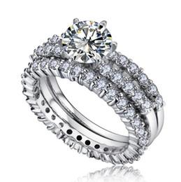 Européen en argent Sterling 3Piece Bague Bague Femme Cristal de Simple Temperament Couple Bague bijoux de mode ? partir de fabricateur