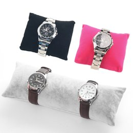 Wholesale Display Watch Holder Acrylic - Jewelry Bracelet Watch Display Pillow Velvet Jute Cushion for Bangles Wrist Watches Showcase Exhibition Bead Bracelets Holder