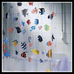 2019 12 рыболовных крючков Новый творческий мультфильм занавески для душа рыбы ПВХ ванная комната продукты водонепроницаемый прозрачный Rideau де душ 180 * 200 см + 12 крючки скидка 12 рыболовных крючков