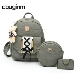 Wholesale Green Ribbon Schools - COUGINM Vintage Women Composite Backpack 3 Pcs Set PU Leather Bag For Teenage Girls Female School Backpack With Shoulder Bags Free Shipping