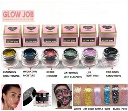 Wholesale Glow Nail Gel - In stock Brand New Glow Job Radiance Boosting Glitter Face Mask Detox Luminous Moisture Lift Fine Line Mattifying Facial Masks Free DHL Ship
