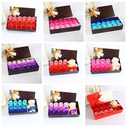 Wholesale Flowers Teddy Bears - Little Teddy Bear toys Bath Rose Soap Flower Petal With Gift Box For Birthday Wedding Valentine Day Love toys Gift