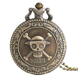 Peças de relógio de bolso on-line-Dropshipping One Piece Tema Crânio Padrão de Quartzo De Bolso Do Vintage Relógios para a MeninaBoy Vintage Bronze Relógio de Bolso com Colar