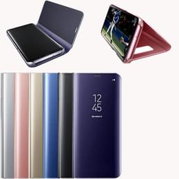 Cas Electroplate Effacer Smart Kickstand Miroir Voir Flip Cover Veille Veille Holder Téléphone Cas Pour iPhone 6 7 8 X Samsung Galaxy S7 S8 S8 plus ? partir de fabricateur