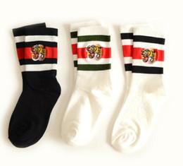 Wholesale embroidered tiger - men designer socks tiger head embroidered striped jacquard unisex cotton sport socks