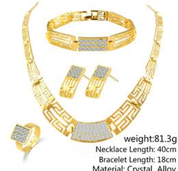 conjuntos sólidos de pulseiras de ouro Desconto Conjunto de Jóias da dama de honra Do Vintage Colar Pulseira Brincos Anéis Como Indiano Africano Dubai 18 k Conjuntos de Jóias de Ouro Festa de Casamento Conjuntos de Jóias