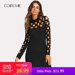 COLROVIE Cut Out Form Fitting Sexy Dress 2018 New Long Sleeve Stand Collar  Plain Basic Women Dress Spring Black Bodycon OL Dress D18110906 17f9664f2