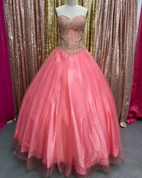 Wholesale custom design quinceanera dresses - Designed Watermelon With Gold Appliques Ball Gown Quinceanera Dresses 2018 Sweetheart Long Prom Evening Gowns Sweet 16 vestidos de 15 Anos