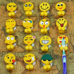 Зубная щетка онлайн-Держатели для зубных щеток Cute Emoji Зубная щетка Подвесная стойка Мультфильм Присоска Настенный держатель на присосах Аксессуары для ванной комнаты 15 Стили YW1399