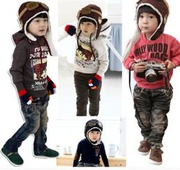Deutschland Outdoor hüte Mode Stil Neue Niedlichen Baby Kleinkind Junge Mädchen Kinder Pilot Aviator Cap Warme Hüte Versorgung