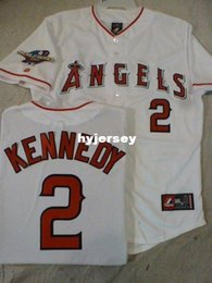 Wholesale Custom Licenses - Cheap custom Licensed MAJESTIC #2 ADAM KENNEDY 2002 WORLD SERIES Sewn Jersey Mens stitched jerseys Big And Tall SIZE XS-6XL For sale