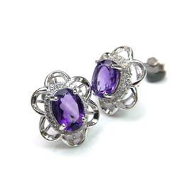 Boucle d'oreille en argent sterling 925 en forme de fleur avec une bonne couleur naturelle, une pierre précieuse d'améthyste africaine des bijoux de qualité supérieure pour les femmes ? partir de fabricateur