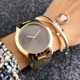 Wholesale Wrist Watch Love - Fashion crystal letter LOVE design Brand women's Girl Dial steel Metal band Quartz Wrist Watch M6239