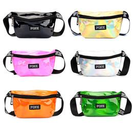 Wholesale red fanny pack - Pink Laser Waist Bags Women Fanny Pack PU Laser Purse Waist Chest Bag Hip Bag Youth Sport Bag Waterproof Cosmetic Bags OOA5198