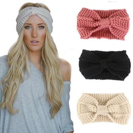 Wholesale Bow Wool Headband - Women Bow Knit Wool Headband Fashion Girl Warm Woolen Crochet Turban Handmade Bow Knot Wide Head Wrap OOA4368