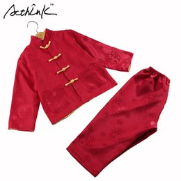 Wholesale Traditional Chinese Clothes Red - ActhInK Baby Boys Reversible Style Tang Suit Brand Kids Chinese Traditional Dragon Embroidery Cotton&Linen Clothing Set , MC118