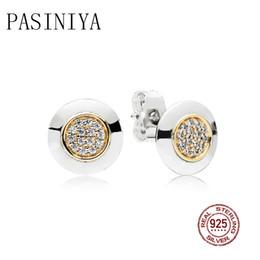 Bijoux glamour en Ligne-PASINIYA 100% Sterling silver Glamour 296230CZ Deux-Tone Signature Boucles D'Oreilles D'origine Femmes De Mariage Bijoux De Mode 2018