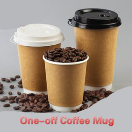 Wholesale Tea Coffee Containers - Disposable Coffee cups Paper Cups Milk Coffee Mugs 12oz Lids Tumblers Takeout packed milk tea cup Hot drink Container One-off Cup OEM