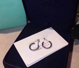 brincos de selo Desconto 1: 1 de Luxo S925 Sterling Silver Mulheres meia rodada brinco com todos os diamantes para as mulheres logotipo selo presente Da Jóia frete grátis PS6679