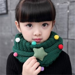 Wholesale Girl Sweater Star - 2017 Kawaii Star Children's Snore Knitted Scarf For Girls Sweater LICs Unisex Winter Knitting Snud For A Boy Warm Scarves Collar