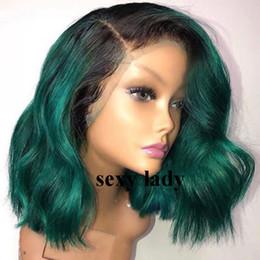 Perucas verdes curtas on-line-Vendas baratas 14 polegadas ombre verde curto bob perucas 360 Peruca Dianteira Do Laço natural ondulado Lace Front perucas sintéticas Com Cabelo Do Bebê