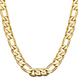 Wholesale Hip Hop Style Jewelry - Classic Figaro Cuban Link Chain Necklace 18K Real Gold Filled For Men Hip Hop Charming 10MM High Quality Jewelry Accessories Punk Style Gift