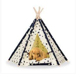 Canada Ventes!!! 2019 En Gros livraison gratuite Pet Teepee Tente Chien Chat Jouet Maison Portable Lavable Pet Lit Star Motif cheap dog toys patterns Offre