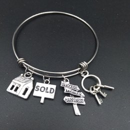 Wholesale Real Estates - whole saleStainless Steel Expandable Wire Bangle House Sold Charm Bracelet Cute DIY Jewelry Gift for Real Estate Agent or Realtor