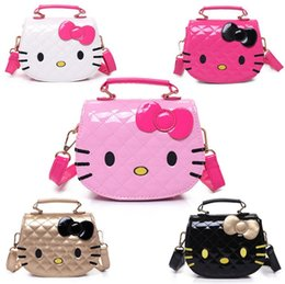 Wholesale Purse Child - 2018 New Year Gift Kids Purse Cat Children Cartoon PU leather Bag Crossbody Single Shoulder Bag Handbag Baby Mini Bag Cute Design