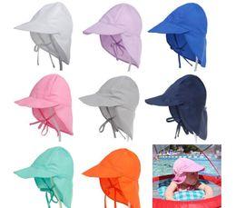 Wholesale Bucket Hat Baby - Summer Newborn Sun Cap Unisex Baby Kids Bucket Hat UV Protection Hat Outdoor Soft Beach Hat Neck Ear Cover Flap Cap KKA5084