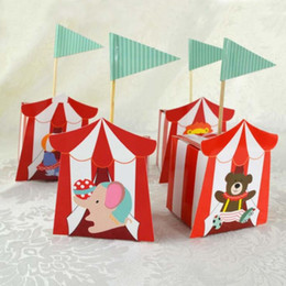 Wholesale Baby Shower Favors Box - 50pcs lot Circus animal sugar box Paper Candy Box Children's day Theme Decoration Baby Shower Souvenirs Party Favors Gift
