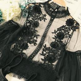 blusas de moda coreana al por mayor Rebajas Freeship ladies vintage casual volante farol manga soporte cuello malla y encaje bordado Blusas con top interior / camisas flare