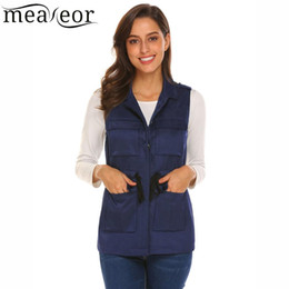 gilet de taille Promotion Meaneor Femmes Casual Turn Down Col Simple Breasted Solid Vest Cordon Taille