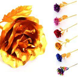 Wholesale Flower Handicraft - Gold leaf of Valentine's Day flower rose wedding gift lovers handicraft handmade steeped long stem
