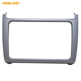 2019 vw polo dvd FEELDO Silver Car Refitting 2DIN DVD Panel Panel Fascia Dash Kit Radio Audio Frame para VW POLO 2014-2015 # 2163 rebajas vw polo dvd