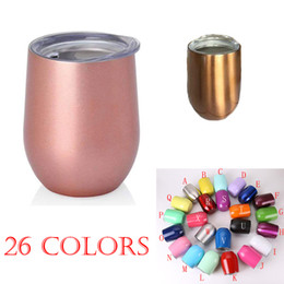 Wholesale Wholesale Tumblers Lids - Stainless steel Wine Glasses tumblers rose gold 9oz stainless steel tumbler egg cups 2018 newest party supplies beer mugs 26 colors