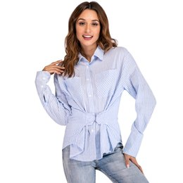 Argentina Moda mujer camisa a rayas azul Turn Down Collar manga larga túnica blusa Tops botón bolsillo delantero Slim Fit otoño Tops azul cheap tunic shirts for women Suministro
