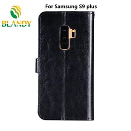 Wholesale black book photos - For samsung s9 plus book styles Crazy horse wallet leather PU TPU phone cover Case with photo frame For samsung s9