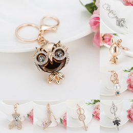 Wholesale High Heel Charms Jewelry - Charm High heel Keyrings Owl Keychains Crystal Trendy Purse Bag Buckle Bag Pendant For Car key chains Jewelry 6 Styles D954Q