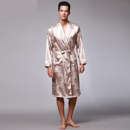 a9602cc1d1 Men s Summer Paisley Pattern Robes Male Luxury Print Silk Pajamas Bathrobe  Mens Kimono Bath Gown Dressing Gowns