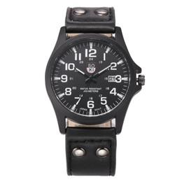 Wholesale vintage army watch - Hot 2018 Superior Vintage Classic Men's Waterproof Date PU Leather Strap Sport Quartz Army Wrist Watch Relogio Masculino Reloj