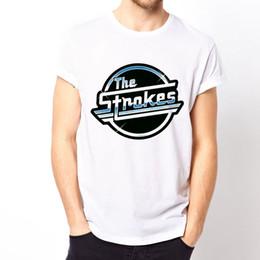2019 logo banda punk rock The Strokes Logo-blue rock punk indie Nueva York música de la banda de Nueva York camiseta blanca Camiseta de alta calidad clásica logo banda punk rock baratos