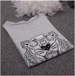 Wholesale tiger print tops women - High quality men women O-neck Tiger Hiphop T-shirt woman man cotton Short sleeve T-shirt Tops polo Tees Sportwear