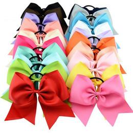 2019 lindas cintas de color naranja 2018 Nuevo 8 Pulgadas Grande Sólido Cheerleading Ribbon Grosgrain Cheer Bows Lazo Con Banda Elástica / Niñas Banda para el cabello de goma Hermosa