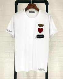 Wholesale t shirt decoration - 2018 summer stickers paris DG crown decoration, embroidery, simple round neck, short sleeved men's T-shirt FREE SHIP